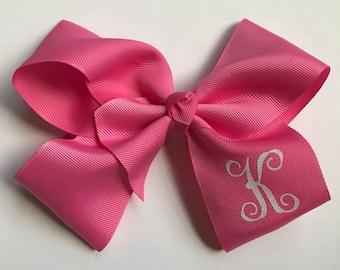 6 inch monogrammed hair bows, girls hair bows, hair bows for girls, easter gift, gifts for girls, 6 inch hair bow