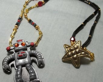 Silver Robot Polymer Necklace