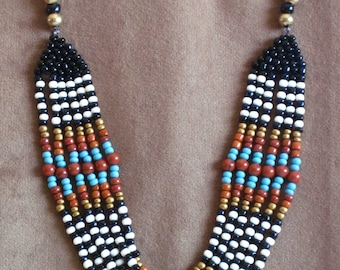 Native American necklace,  Native American Jewelry, Beaded Necklace, Statement necklace, Multistrand Necklace