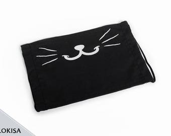 Kitty Face Mask no fangs, Fashion Mask ( Black, or White )