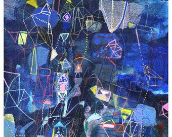 Perseids - original blue abstract print linear geometric art print large giclee star print falling star giclee art
