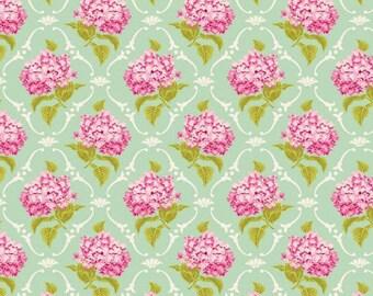 Fabric, coupon, 50/35 cm, hydrangeas, SURF GREEN lilac TILDA, patchwork