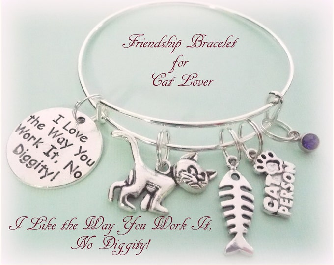 Cat Lover Gift, Friendship Gift, Personalized Gift, Birthstone Jewelry, Friend Gift, Gift for Animal Lover, Christmas Gift for Cat Lover