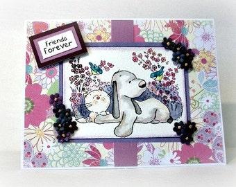 Friends Forever Card, Best Friends Card, Pet Lover Card, Animal Lover, Dog Card, Cat Card, BFF Card, Card for Friends, Handmade Card, OOAK