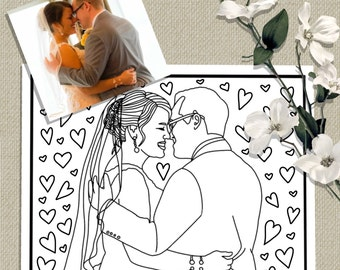Custom Coloring Page From Photo, Wedding Gift, Personalized Wedding Favors, Anniversary, Printable Coloring Page, DIY Wedding Activity