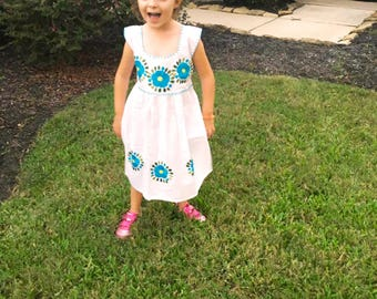 Mexican Embroidered Dress Girls, Girl Bow Dress, Flower Girls Dress, White Mexican Dress, Mexico Dress Kids, Mexican Dress Toddler