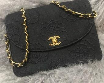 authentic chanel vintage canvas camera bag handbag