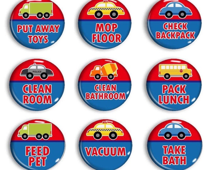 Police Firefighter Chore Magnets - Large Chore Magnets - Family Jobs - Family Organization - Kid's Chores - Red & Blue Room Decor