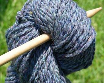 Yarn hand spun two ply Finn wool  in blue purple 3.65 oz  85 yards