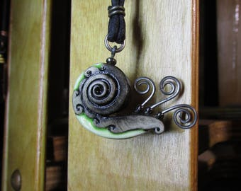Snail with Green Waves. One of a Kind