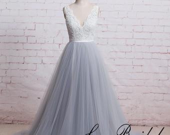 A Line Boho Wedding Dress with Sheer V Cut Back Dusty Blue Tulle Wedding Dress with Ribbon Lace Wedding Dress