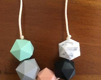 Hexagon baby teething necklace