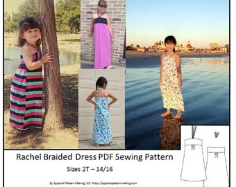 Girls Dress Sewing Pattern- Sizes 2T, 3T, 4T, 6, 8, 10, 12, 14, 16 - Braided Neck Ties, Downloadable PDF Pattern, Long Dress, Short Dress