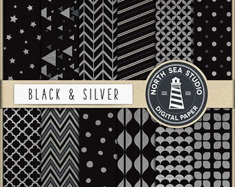 BUY 5 GET 3 FREE Silver Digital Paper Silver And Black Paper  Silver Patterns Digital Scrapbooking 12 Jpg 300 Dpi Files BUY5FOR8