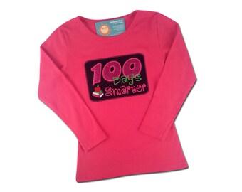 Girl's 100 Days Smarter Shirt - 100 Days of School Shirt