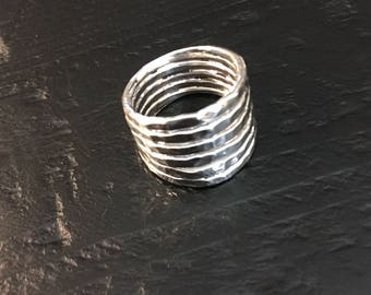 Silver Ring - 7 in 1 Hammered Stacked Rings