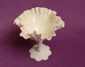 Fenton Vintage Milk Glass White Compote or Comport on Pedestal Homedecor