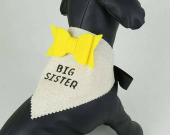 Big Sister Dog Bandana – Baby Announcement, Mother-to-Be, Pregnancy Announcement, Baby Gender Reveal, Burlap Alternative Bandana