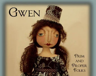 Gwen - for the love of bluebirds - Primitive Folk Art doll epattern