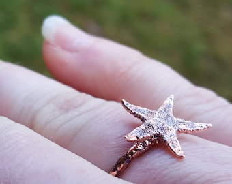 Tiny Starfish Beachcomber Ring Copper Plated Real Shells Size 8