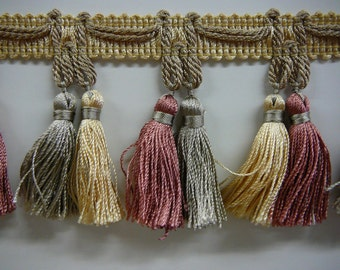"""2.75"""" double yoked tassel fringe in soft gold, gray/taupe and rose"""