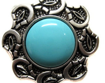 36 Turquoise and Silver Buttons