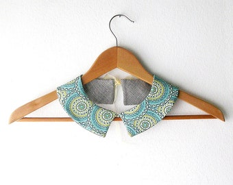 Fabric  Collar Geometric Pattern  Double Face Detachable Peter Pan Collar