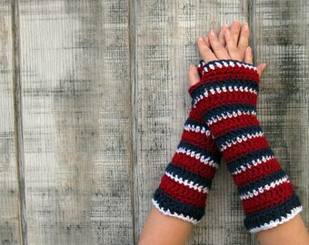 Go TEAM! extra soft striped gloves in Burgundy, Navy Blue, and White