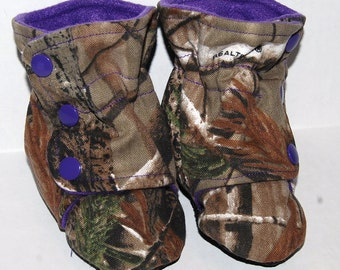 Camo Baby Booties baby girl camo  purple  handmade from realtree  Redneck baby Mossy Oak.camo baby shower. baby girl  gender reveal