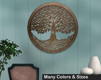 Tree of Life 24in Baltic Birch Metallic Base Wall Art w/ Optional Custom Text