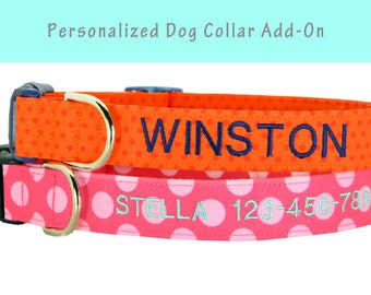 Personalized Dog Collar Add-on/ This is for EMBROIDERY ONLY/ Embroidered Dog Collar/ Dog Collar Embroidery