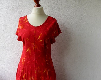 Red Floral Maxi Dress, Summer Bohemian clothing, 90s