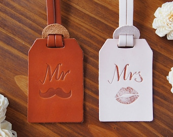 Mr and Mrs Luggage Tag Leather, Leather luggage tags wedding gift, Personalized Luggage Tags Leather luggage tag x 2 Bundle, Harlex