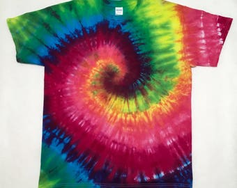 Hand Tie Dyed Adult L Ready to Ship Hippie Retro Large T-Shirt #01162
