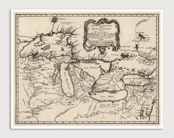 Great Lakes Map, Antique Map Art Print, 1755, Archival Reproduction