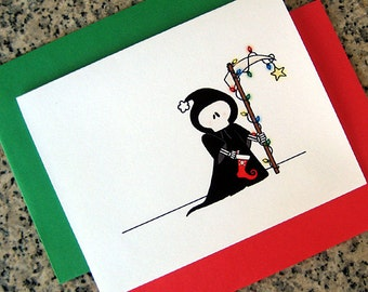 holiday grim reaper christmas cards / notecards / thank you notes (blank or custom printed inside) with envelopes - set of 10