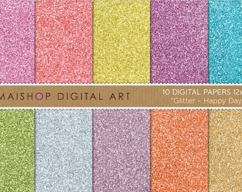 Digital Paper Glitter 'Happy Day' Instant Download Scrapbooking Papers for Invitations, Scrapbook, Stickers, Cards, Crafts...