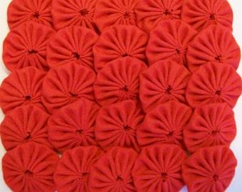 50 Solid Red 1 inch Miniature Yo Yos Applique Quilt Pieces Scrapbooking Embellishments
