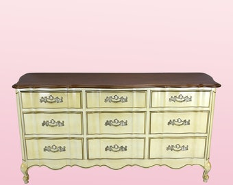 Vintage French Provincial Dresser of 9-Drawers - Mid Century Dresser