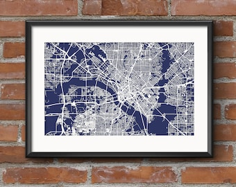 Dallas poster etsy dallas map art print blueprint dallas poster dallas art dallas print free shipping malvernweather Image collections