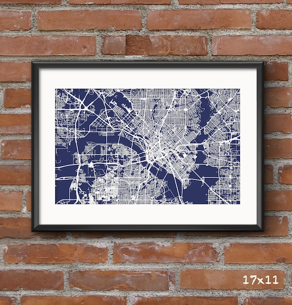 Dallas map art print blueprint dallas poster dallas art malvernweather Gallery