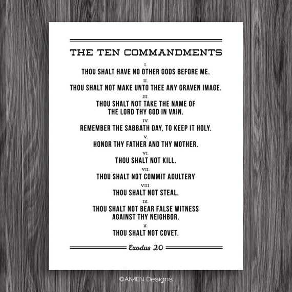Modest image with kjv ten commandments printable