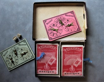 Vintage Antique Bezique Card Game, Green Playing Cards, Ivory Dice and Metal Spinners/Markers