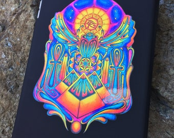 "Hand Drawn Egyptian Scarab Sticker - Sacred Geometry Sticker - Psychedelic Sticker - Laptop Sticker - Aprox. 5""X5"""