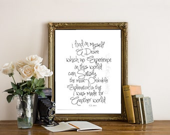 I Find In Myself A Desire In Which No Experience. CS Lewis. Christian Wall art. Bible Verse. Inspiration.