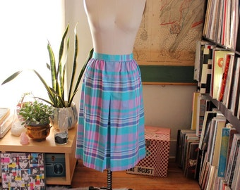 """vintage 80s pastel plaid cotton skirt with front pleat and pockets . gathered waist skirt, mid length . 30"""" waist, womens size large"""