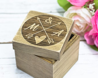 Rustic Ring Box Wedding Heart Ring Bearer Box Ring Holder Wooden Wedding Ring  Bearer Personalized Box