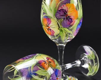Hand Painted Large Wine Glass / Colorful Pansies On Clear Glass