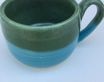 Blue and green MUG-handmade, pottery, ceramic,stoneware ready to ship , gift