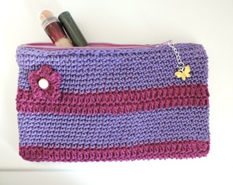 Lilac and Purple Pouch - Makeup Bag - Purse with Zip